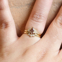 Lotus Ring with Pear Rose Cut Diamond in Yellow Gold