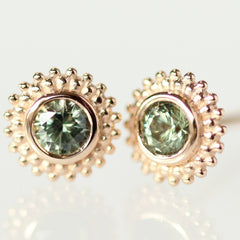 Dahlia Earring in 18K Rose with Green Montana Sapphires