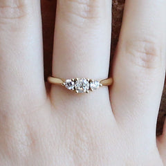 Three Stone Diamond Ring in 18K Yellow Gold
