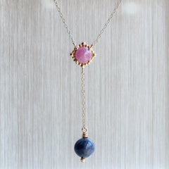 Greenland Ruby & Sapphire Beaded Halo Pendant