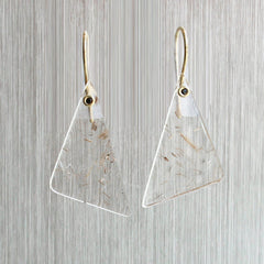 Rutilated Quartz Triangle Earrings in Yellow Gold