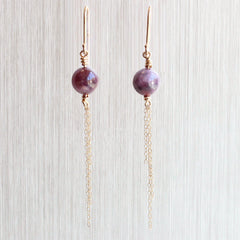 Red Greenland Ruby Bead Dangle Earrings