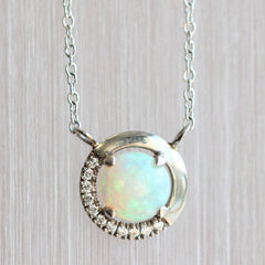 Opal and Half Diamond Floating Halo Pendant