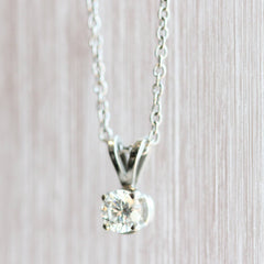 Platinum & 18K Diamond Solitaire Pendant
