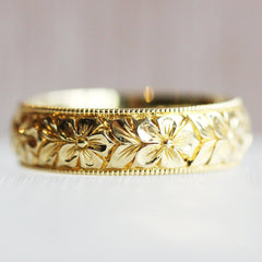Hand Engraved Flower Band