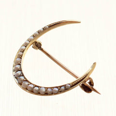 Antique Pearl Encrusted Crescent Moon Pin/Brooch in 14K Gold
