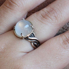 Silver & Moonstone Jellyfish Ring