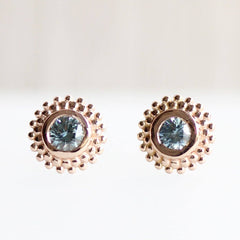 Dahlia Stud Earrings in 18K Rose with Montana Sapphires