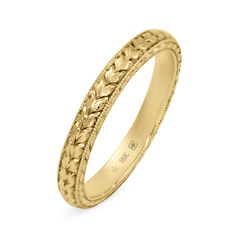 18K 2.5mm Hand Engraved Leaf Pattern Band