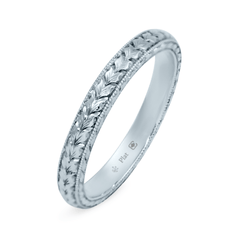Platinum 2.5mm Hand Engraved Leaf Pattern Band
