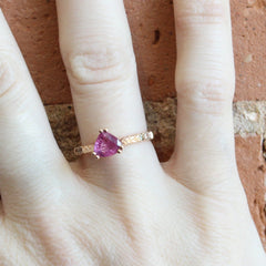 Double Prong Pear Ring with AKARA Greenland Ruby + Chatham Champagne Sapphires