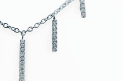 Diamond Bar Bib Necklace in 18K Palladium White Gold