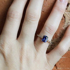 Emerald Cut Blue Sapphire with Custom Band