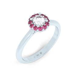 Pink Sapphire and Diamond Botanical Halo
