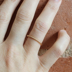 18K Rose Gold Beaded Band