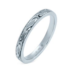 18K 2.5mm Hand Engraved Scroll Pattern Band