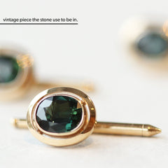 2.41 Blueish Green Oval Mixed-Cut Vintage Sapphire