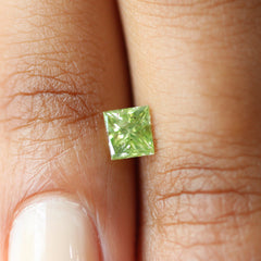 0.92 ct Fancy Natural Green Vintage Rectangular Modified Brilliant Diamond - Fairtrade Jewellery Co.