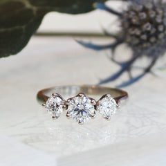 Vintage Style Three Stone Ring