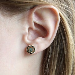 Trapiche Emerald Earrings in 18K Yellow Gold