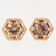 18K ROSE GOLD HEXA STUDS WITH CERTIFIED SAPPHIRES