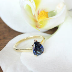 Pear Cut Blue Sapphire Love Note Engagement Ring