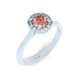 Padparadscha Colour Sapphire Botanical Halo