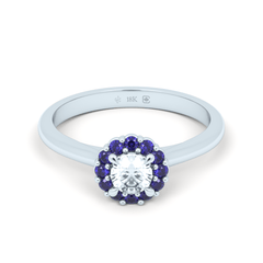 18K Blue Sapphire and Diamond Botanical Halo