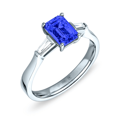18K Blue Sapphire Emerald Cut Deco Cathedral Ring