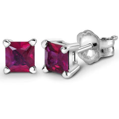 18K Nickel-Free Princess-Cut Ruby Earrings