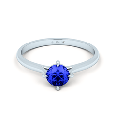 Platinum Contemporary Love Note Solitaire with  Blue Sapphire
