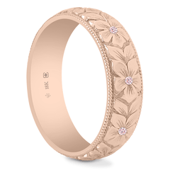 18K Natural Argyle Pink Diamond 5.5mm Hand Engraved Flower Band