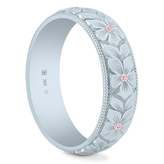 18K Fairtrade/Fairmined Natural Argyle Pink Diamond 5.5mm Hand Engraved Flower Band