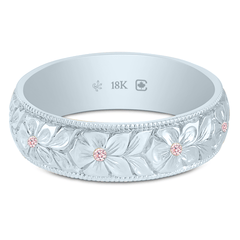 18K Fairtrade or Fairmined Natural Argyle Pink Diamond 5.5mm Hand Engraved Flower Band