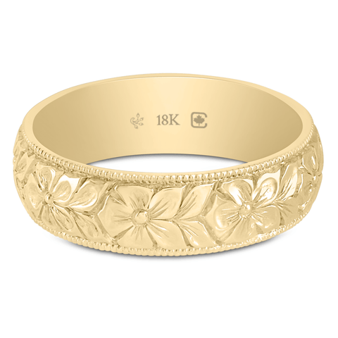 18K 55mm Wide Hand Engraved Flower Band