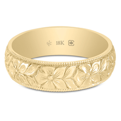 18K 5.5mm Wide Hand Engraved Flower Band