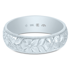 18K Fairtrade/Fairmined 5.5mm Hand Engraved Flower Band