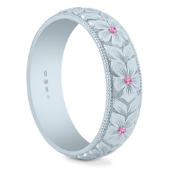 18K Fairtrade or Fairmined 5.5mm Pink Sapphire Hand Engraved Flower Band