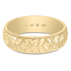 18K Fairtrade or Fairmined 5.5mm Hand Engraved Flower Band