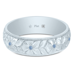 Platinum 5.5mm Argyle Natural Blue Diamond Hand Engraved Flower Band
