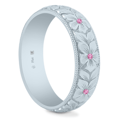 Platinum 5.5mm Pink Sapphire Hand Engraved Flower Band