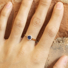 Petite Love Note Halo with Blue Akara Sapphire in Yellow