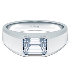 18K Emerald-Cut Canadian Diamond Mengagement Solitaire