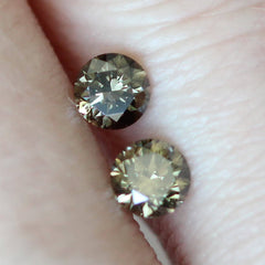 0.71 tcw Dark Greenish Brown Round Brilliant Laboratory Grown Diamond Pair