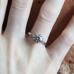 Pre-Loved Audrey 6 Prong 1.81ct Lab Grown Diamond in 18K Palladium White Gold - Fairtrade Jewellery Co.