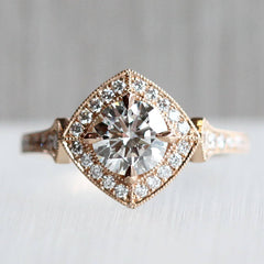 Clementine Halo Ring with Laboratory Precision Cut Swarovski Diamonds
