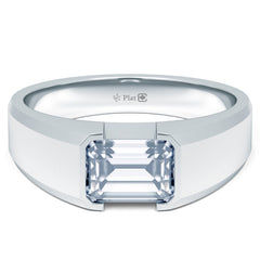 Platinum Emerald-Cut Canadian Diamond Mengagement Solitaire
