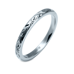 18K 2.5mm Hand Engraved Vine Pattern Band