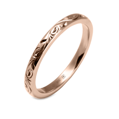 18K 2mm Hand Engraved Vine Pattern Band