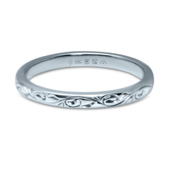 18K 2.5mm Wide Fairtrade/Fairmined Vine Pattern Engraved Band